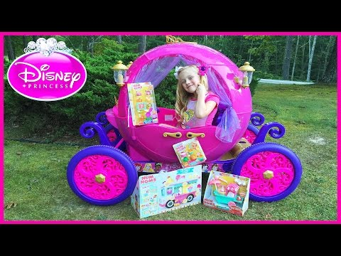 Disney Princess Carriage Ride On Power Wheels Surprise Toys Hunt W/ Num Noms Toys & Play Doh Girl