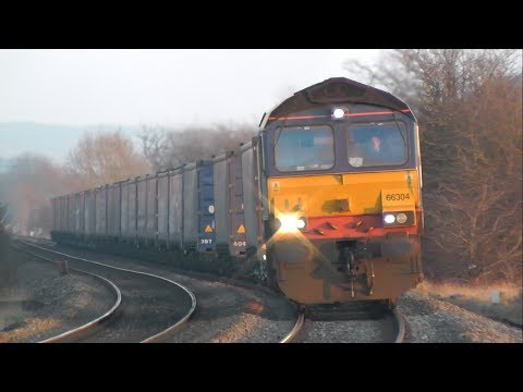 (HD) Near Train Derailment - 66304 4M36 Daventry - Wentloog Moreton-On-Lugg 09/03/2014
