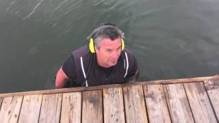 Underwater search for a lost wedding ring in the river