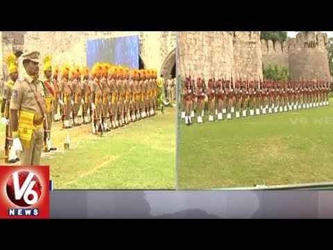 Police Full Dress Rehearsal For Independence Day Celebrations At Golconda Fort | Hyderabad | V6 News
