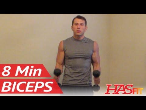8 Minute Blasting Biceps Workout - Bicep Exercises with dumbbell - HASfit Biceps Work Out Training Image 1