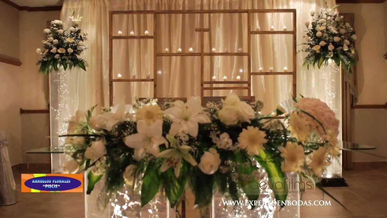 Decoraci n de iglesia y recepci n para boda youtube for Adornos para bodas con plantas