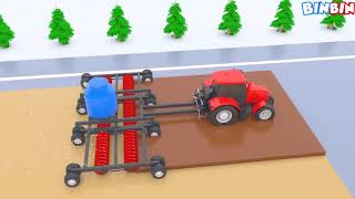 Tractor Farm Vehicles Shipping for Kids Colours for Children to Learn with Vegetables and Fruits