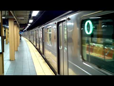 MTA NYC Subway: R62A (7) train terminating at Flushing Main St.