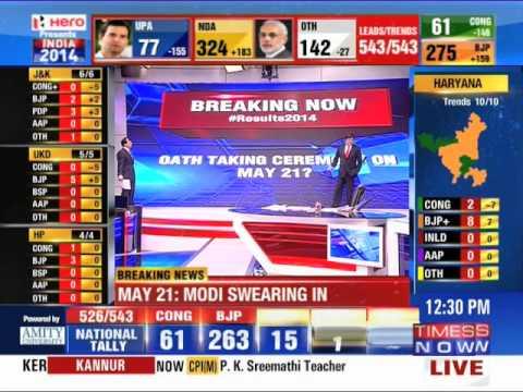 Narendra Modi to take oath on May 21