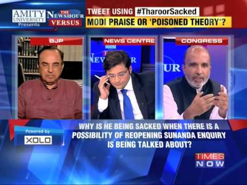The Newshour Versus: Shashi Tharoor Sacked - Subramanian Swamy Vs Sanjay Jha (13th Oct 2014) video