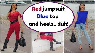 Crossdresser - Shein haul - red jumpsuit and coral blue top with high stiletto heels