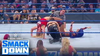 Rhea Ripley beats Charlotte, Sasha Banks w/unique finish, NXT stands tall | FRIDAY NIGHT SMACKDOWN