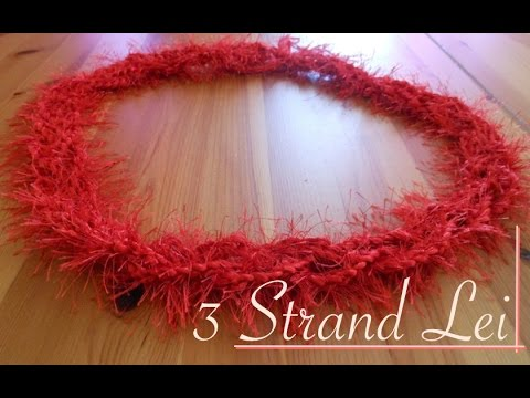Red Crochet Lei Braided with Three Strands
