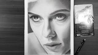 Scarlett Johansson Realistic pencil drawing | Time-lapse