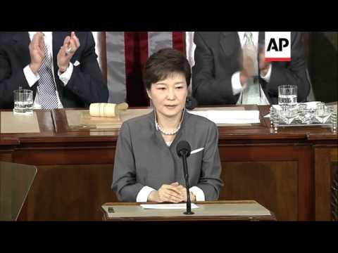 First female president of SKorea, Park Geun-hye, addresses US Congress