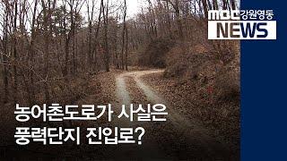 집중 R)양양군 농어촌도로가 풍력단지 진입로?