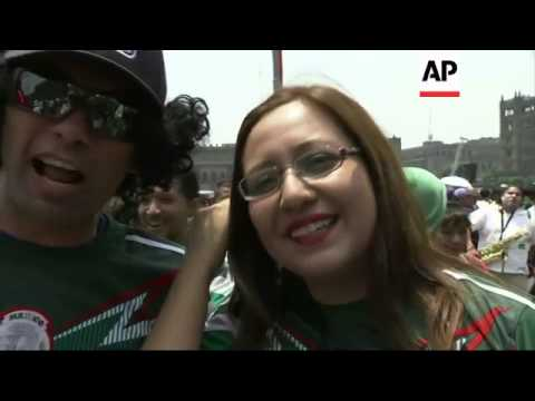 Fans celebrate Mexico's 1-0 victory over Cameroon in the World Cup