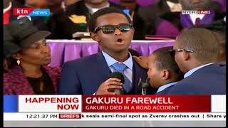 Emotional:The late Wahome Gakuru's Son sings for his late father