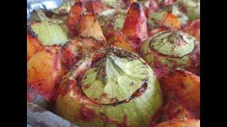 Low Fat Vegan No Oil Greek Rice Stuffed Zucchini with Potatoes