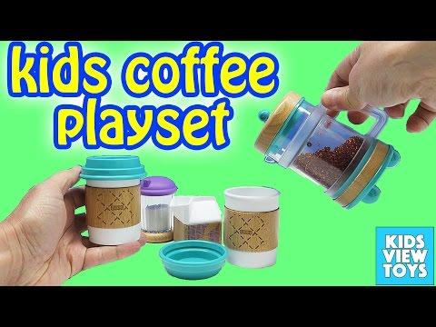 Toy Kitchen Kids Coffee Maker Playset For Children Wooden Toys Barista Set