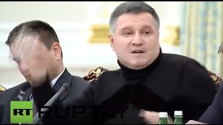 Ukraine: IntMin Avakov throws water over Saakashvili after heated exchange