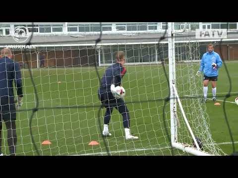 Excellent saves from Joe Hart, Fraser Forster & John Ruddy: England training vs Germany