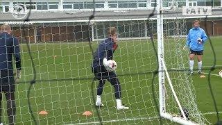 Excellent saves from Joe Hart, Fraser Forster & John Ruddy: England training vs Germany
