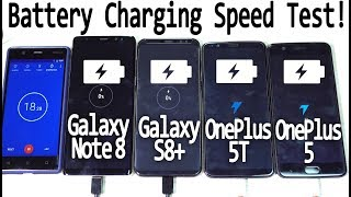OnePlus 5T vs Galaxy Note 8 vs Galaxy S8+ vs OP5 - Battery Charging Speed Test! 😲😲