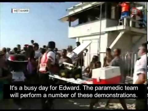 MDA holds lifesaving demonstration at the Sironit beach in Netanya
