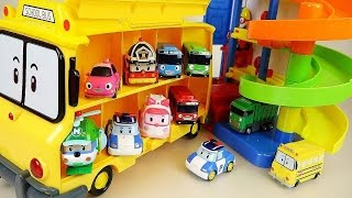 Robocar Poli car toys Parking Tower play and Tayo School bus