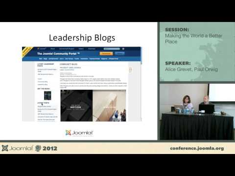 Making the World a better a place - Alice Grevet, Paul Orwig :: Joomla! is one of the most popular CMS choices available today. What if it also became the CMS that is trying to make the world a better place? We have the community, the skills, and the resources. We have a generous tradition of giving back. Come hear about how we can think bigger with Joomla! 