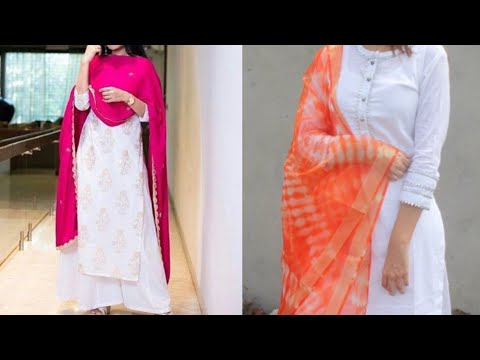 white colour kurta with coloured dupatta and salwar design ideas/National day outfits ideas