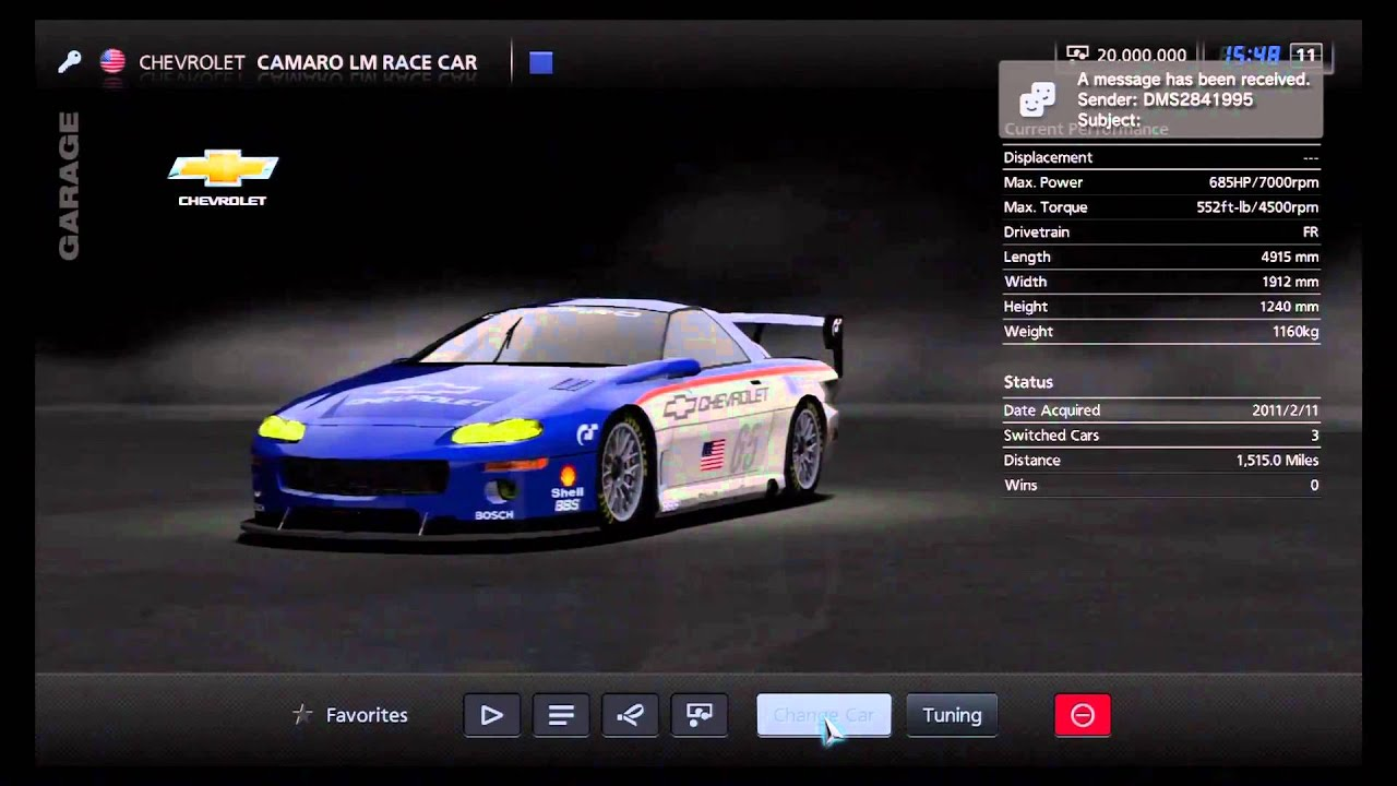Gran Turismo 5 Chevrolet Camaro LM Race Car YouTube