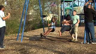 Big Lady Flies off Swing