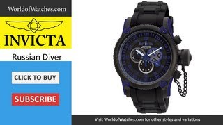INVICTA Russian Diver Chronograph Black Polyurethane & Black Stainless Steel 0518