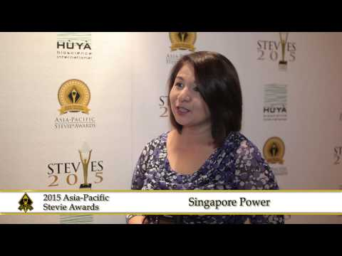 Singapore Power share a few words at the 2015  Asia Pacific Stevie Awards.