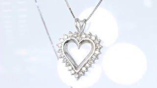 0.50CT ROUND BRILLIANT HEART PENDANT W/14KT WHITE GOLD NECKLACE $495