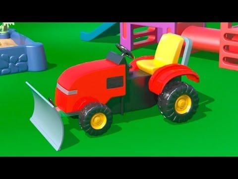 Мультфильмы про машинки.  На детской площадке. Грейдер. Учим цифру 4