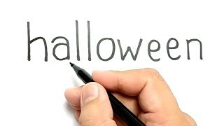 VERY EASY ! How to turn words HALLOWEEN into CARTOON for KIDS / how to draw halloween