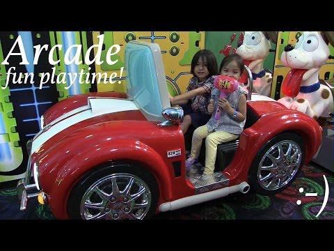 Indoor Amusement Park: Hulyan & Maya's Arcade Games Playtime! Summer 2015