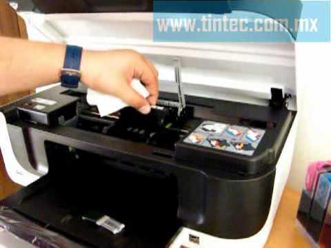video mostramos como instalar el sistema de tinta en la impresora HP