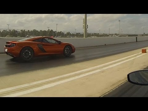 McLaren MP4-12C vs Ferrari 458 Italia Drag Racing 1/4 Mile Race 1/3 Launch Control