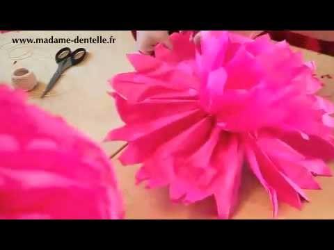 Fabriquer un pompon en papier de soie youtube - Comment fabriquer des boules de noel en papier ...