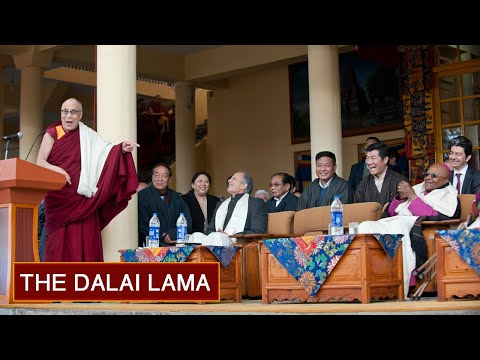 His Holiness the Dalai Lama Welcomes Archbishop Desmond Tutu to Dharamsala