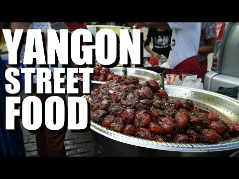 STREET FOOD in MYANMAR  Yangon Market Snacks! 2016