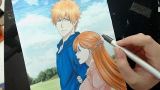 Speed Drawing - Ichigo and Orihime (Bleach)