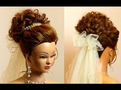 Wedding updo. Romantic hairstyle for long medium hair