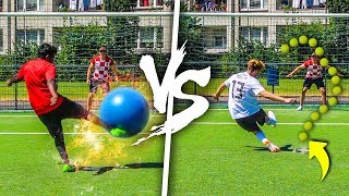XXL GYMNASTIKBALL VS TENNISBALL FUßBALL CHALLENGE !