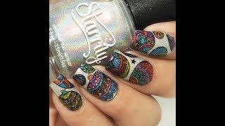 DIY Festive Baubles Nails ||Reverse Stamping Technique||