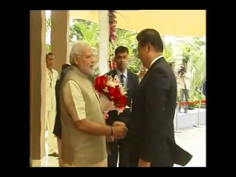 Prime Minister Narendra Modi welcomes and meets Chinese President Xi Jinping