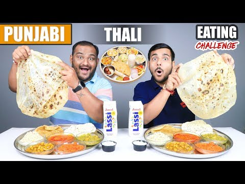 PUNJABI THALI EATING CHALLENGE | Veg Punjabi Food Eating Competition | Food Challenge
