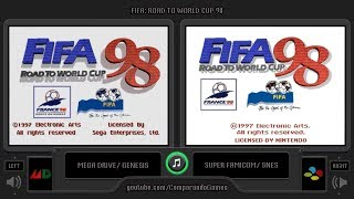 FIFA 98 (Sega Genesis vs SNES) Side by Side Comparison | VCDECIDE