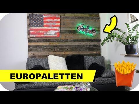Europaletten Möbel selber bauen - Die Paletten Wand uvm.