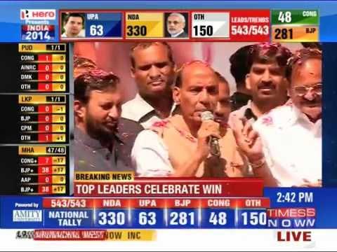 BJP President Rajnath Singh credits Modi for party's performance